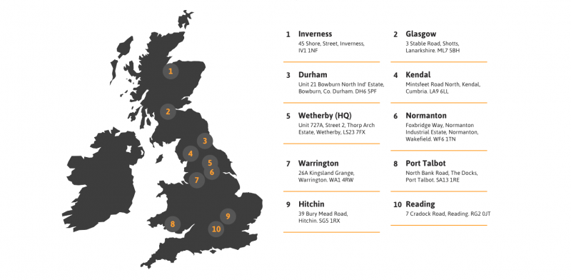Trackway Solutions UK network of depots